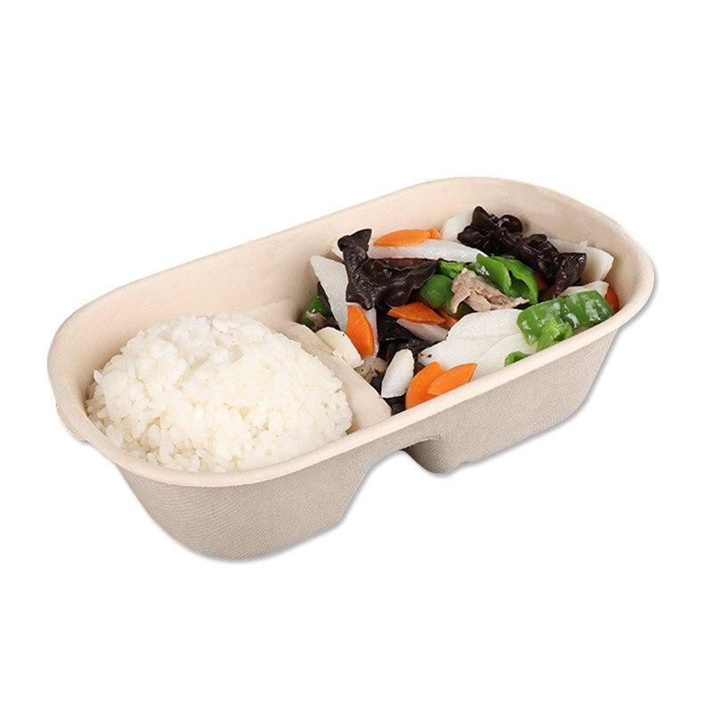 50 pcs/pack papier jetable boîte à repas boîte à salade dégradable boîte à déjeuner Sushi boîte alimentaire à emporter boîte d'emballage