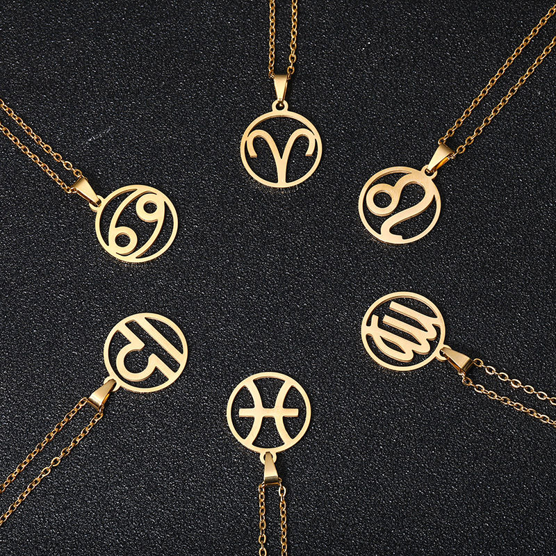 Rinhoo Stainless Steel Star Zodiac Sign Necklace 12 Constellation Pendant Necklace Women Gold Chain Necklace Men Jewelry Gift