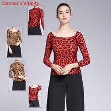 Новая современная Одежда для танцев для взрослых женщин Леопард 2 типа шеи Топ для бальных танцев национальный стандарт вальс Джаз танцы тренировка Поезд Одежда
