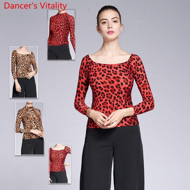 New Modern Dance Wear Adult Women Leopard 2 Type Neck Top Ballroom National Standard Waltz Jazz Dancing Practice Train Clothes