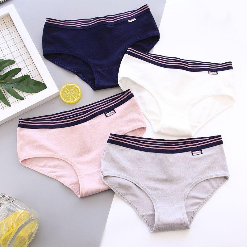 Women's panties cotton underwear girl briefs ladies casual underwear lingerie concise  Pure color underpants panty