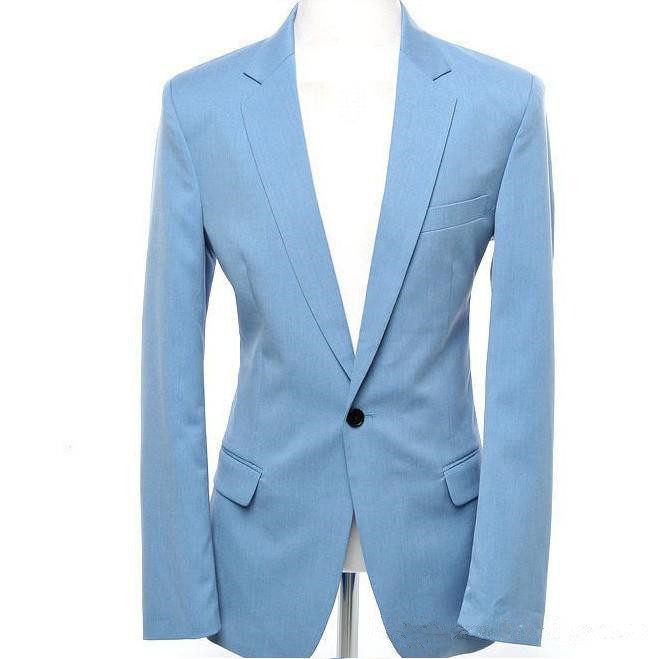 Light-Bule-Man-Suits-Notch-Lapel-One-Button-2-Pieces-Fashion-Terno-Masculino-Personal-Custome-Made