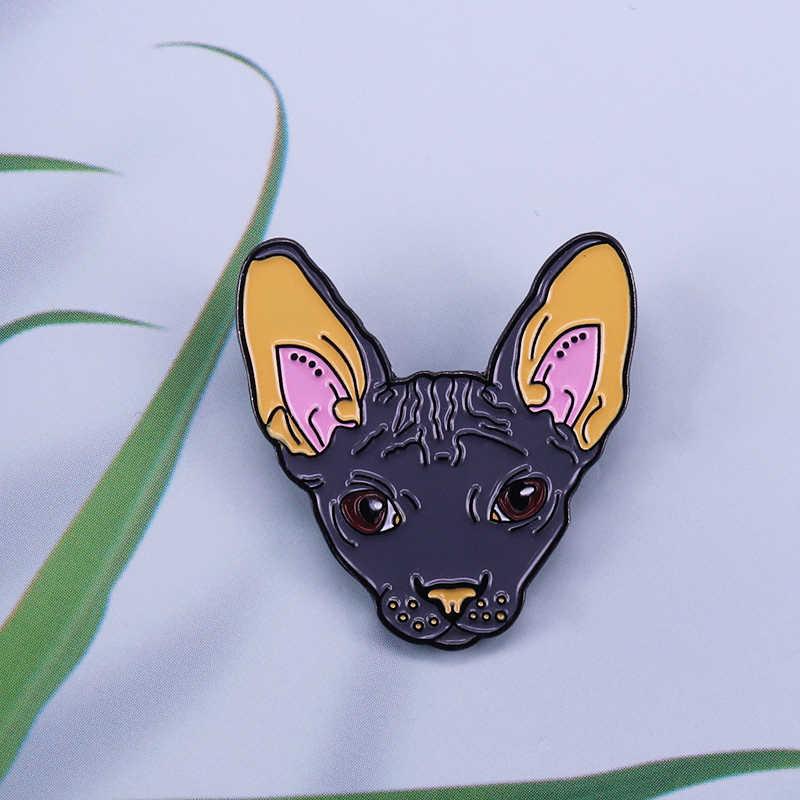 Sphynx chat visage broche mignon épingle à cheveux animal femmes chemises sac à dos accessoire