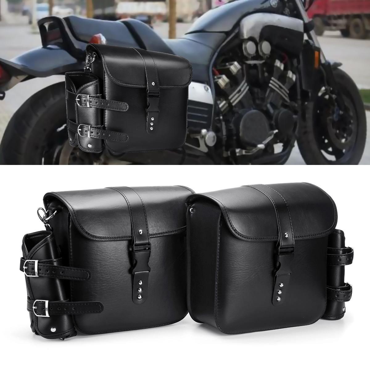 Продажа 1 пара мотоциклетная черная коробка из искусственной кожи Висячие боковые сумки черный с водой чайник сумка универсальная для Harley