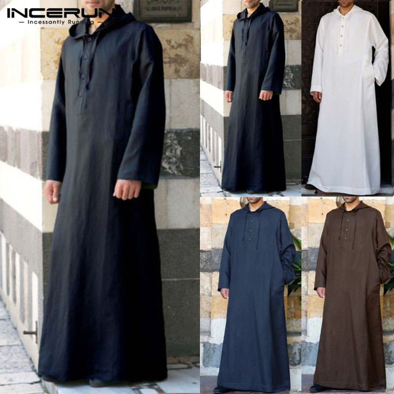 Muslim Robe Hoodies Kaftan Dressing Mens Saudi Arab Dubai Long Sleeve Thobe Arabic Long Islamic Jubba Thobe Man Clothing 2020