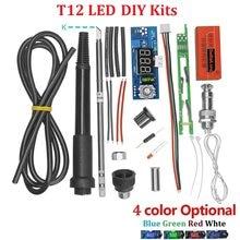 Unidade elétrica digital estação de ferro de solda kits controlador temperatura para hakko t12 lidar com kits diy com led interruptor vibração