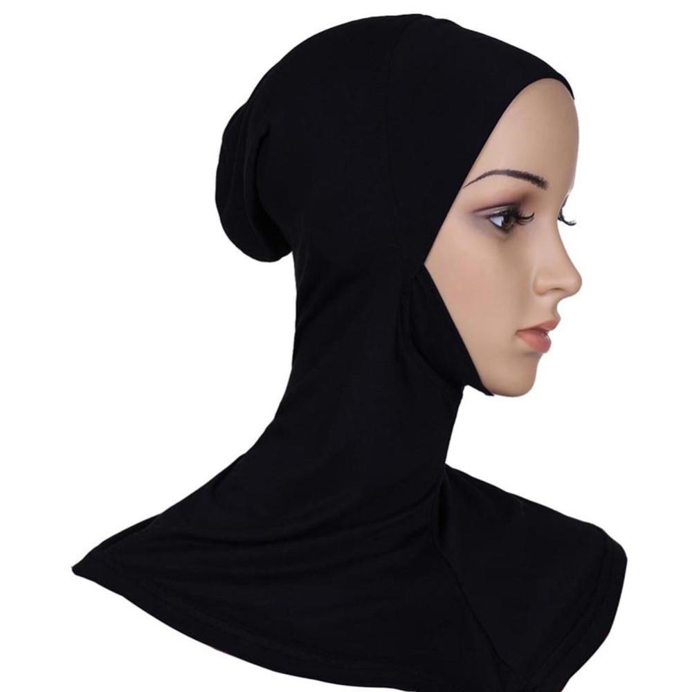 Hijab Headwear Full Cover Underscarf Ninja Inner Neck Chest Plain Hat Cap Scarf Bonnet T55