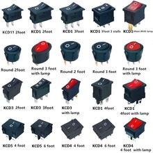 KCD1 KCD3 KCD4 On/Off okrągły/kwadratowy przełącznik kołyskowy DC AC 6A/250V deska rozdzielcza do deski rozdzielczej samochodu plastikowy przełącznik Dropshipping