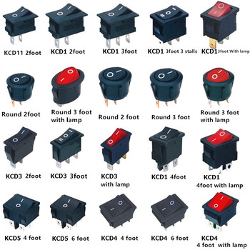 KCD1 KCD3 KCD4 On/Off Round/Square Rocker Switch DC AC 6A/250V Car Dash Dashboard Plastic Switch Dropshipping