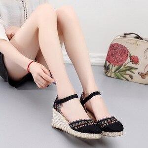 Image 5 - Veowalk Bohemian Women Canvas Wedge Espadrilles Sandals Handmade Linen Ankle Strap 7cm High Heel Platforms Comfort Summer Shoes
