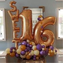 7 pçs doce 16 18 20 decorações de festa balões suprimentos dezesseis decorações de festa de aniversário 16 anos número da folha balões