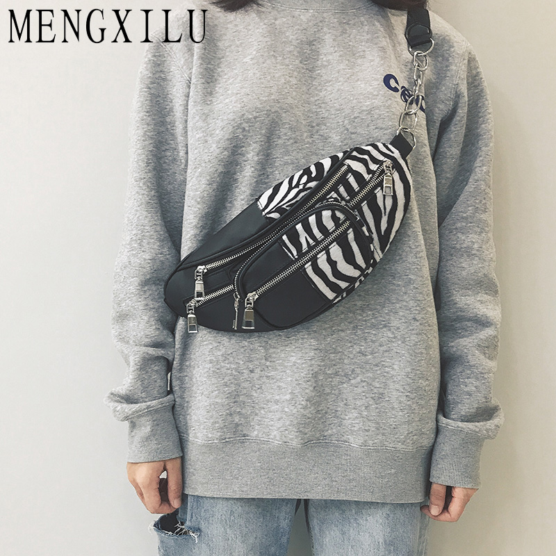 MENGXILU 2019 Lepoard Zebra Pattern Women Waist Bag Fanny Pack Female Chest Belt Bag PU Leather Zipper Purse Cell Phone Pocket