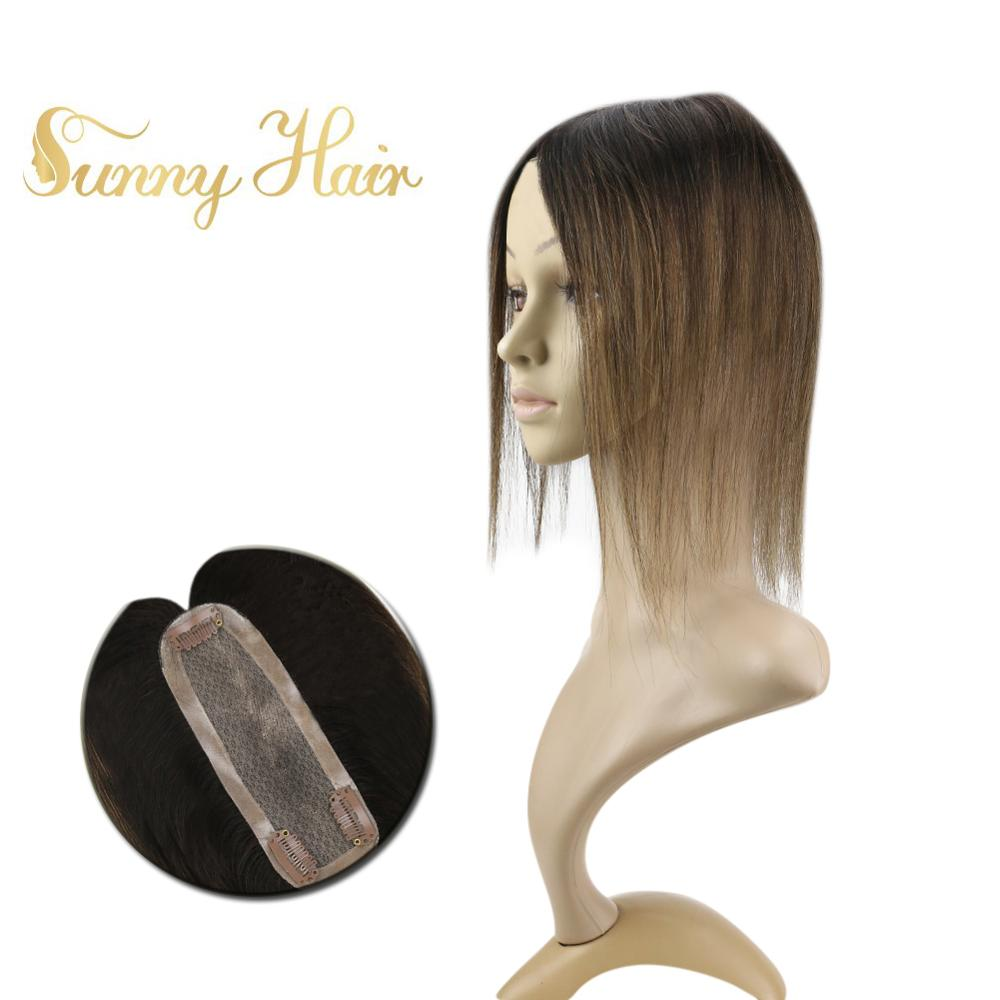 VeSunny Hairpiece Mono Topper Real Human Hair Crown Toupee With 3 Clips 2x6 Inches Balayage Brown #2/2/6
