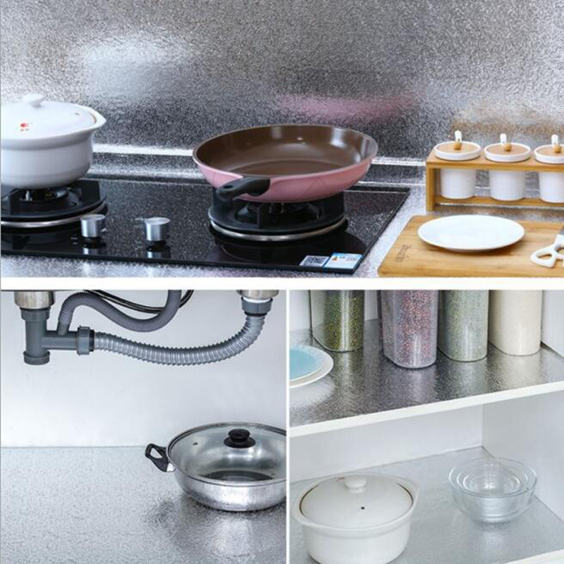 Image 2 - 60x500cm Kitchen Oil proof Waterproof Stickers Aluminum Foil Kitchen Stove Cabinet Self Adhesive Wall Sticker DIY WallpaperWall Stickers   -