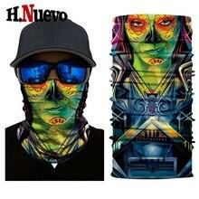 Новая маска с черепом для лица мотоцикла, страшный щит, Байкерская Спортивная маска, кавайра, призрак, тактическая Балаклава, мужская и женская бандана, маска, мото шарф