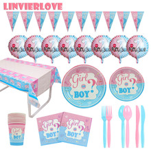 LINVIERLOVE Pink&Blue Gender Reveal Party Set For Baby Shower Girl Or Boy Disposable Tableware Welcome Decor Supplies