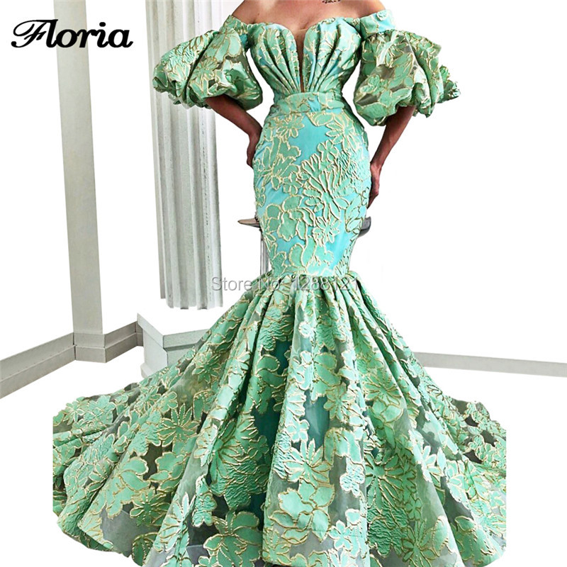 Green Off the Shoulder Formal   Evening     Dresses   Middle East Embroidery Prom   Dress   2019 Custom Made Robe De Kaftan Dubai Party Gown