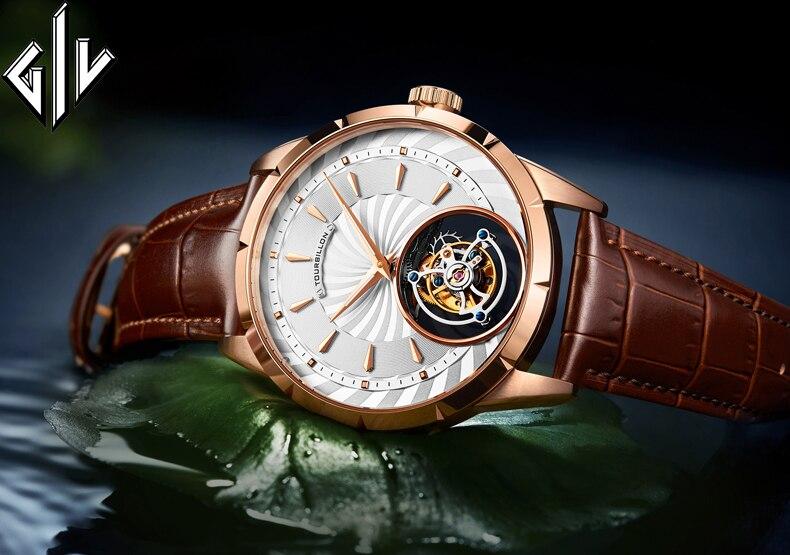 Original GIV Tourbillon Watch Men Top Brand Sapphire Clock Mens Business Mechanical Hand Wind Watch Montre Homme New Model