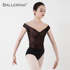 Image 3 - Ballet Turnpakje Vrouwen Praktijk Korte Mouwen Dans Kostuum Sexy Mesh Gymnastiek Rose Gold Kant Maillots Adulto Ballerina 3503