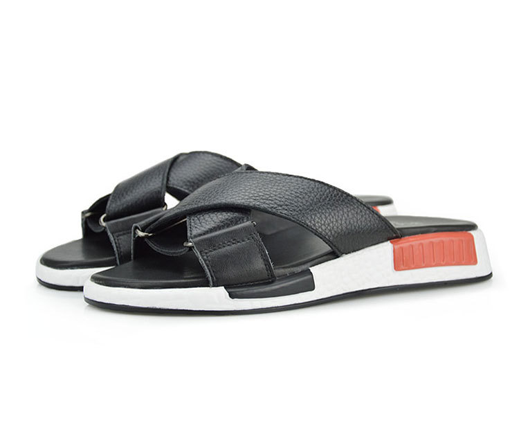 Style New Fashion Mens Sandals Slip On Genuine Leather Cow Flat Slippers Casual Shoes High Quality Brand