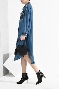 Image 4 - [EAM] Women Blue Denim Burr Striped Big Size Shirt Dress New Lapel Long Sleeve Loose Fit Fashion Tide Spring Autumn 2020 A282