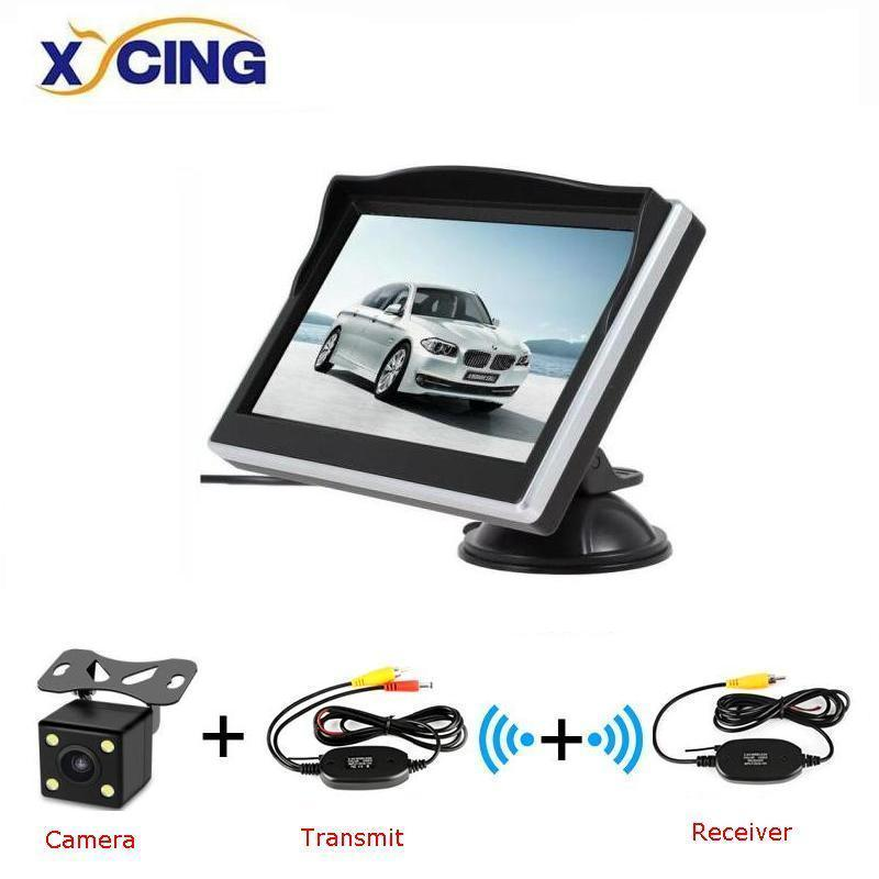 XYCING 5 Inch TFT LCD 800 480 HD Screen Car Monitor with Rubber Vacuum Cup Bracket Color Car Reverse Rear View Backup Camera