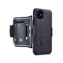 Koşu spor çantası kol bandı IPhone 11 PRO X XR XS MAX kapak egzersiz telefon tutucu kılıfı kol bandı Kickstand case arka Shell