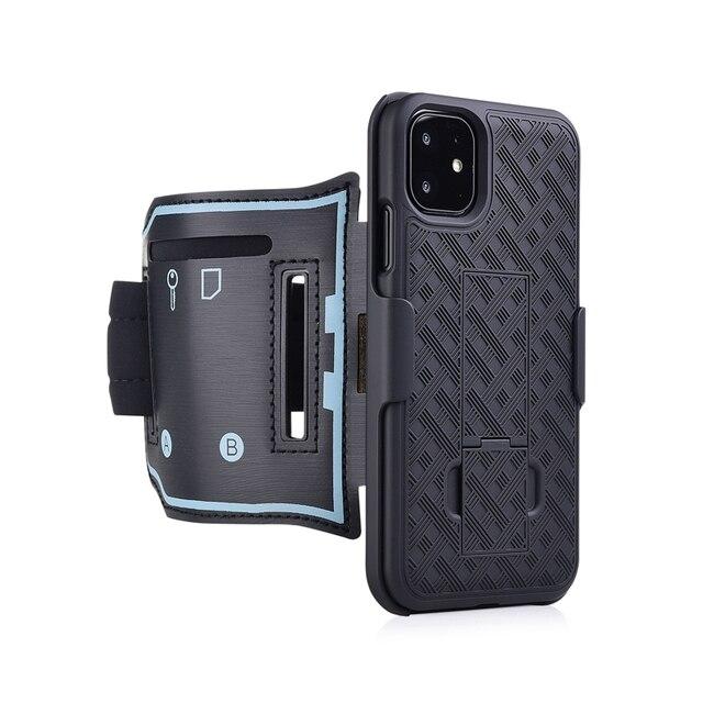 スポーツケース腕章 iphone 11 pro x xr xs 最大カバー運動電話ホルダーアームバンドキックスタンドバックケースシェル