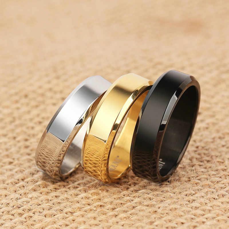 1個シンプルなダブルベベルエッジ鋼チタン指輪について好意と女性のリングパーティーの装飾ギフト用品