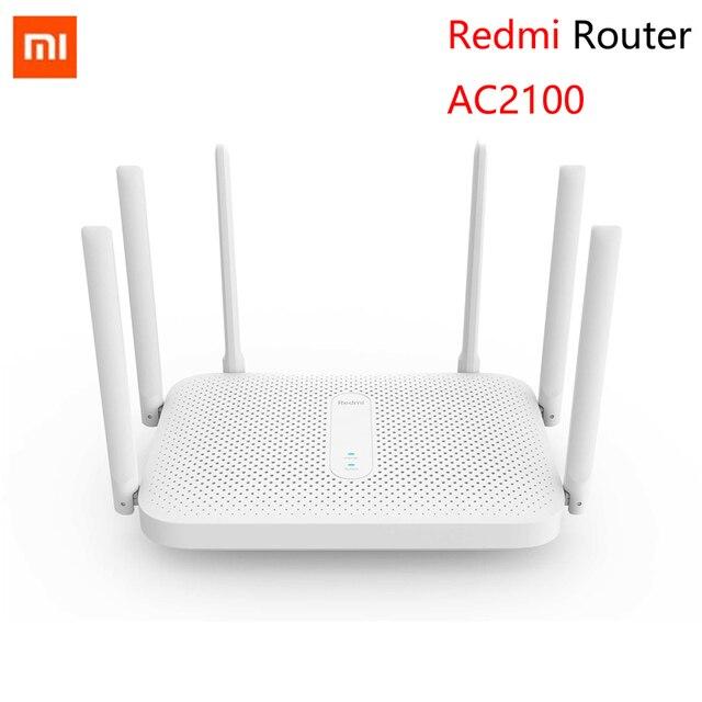 Xiaomi redmi ac2100 roteador gigabit 2.4g 5.0 ghz dupla-faixa 2033 mbps roteador sem fio wi-fi repetidor com 6 antenas de alto ganho mais amplo