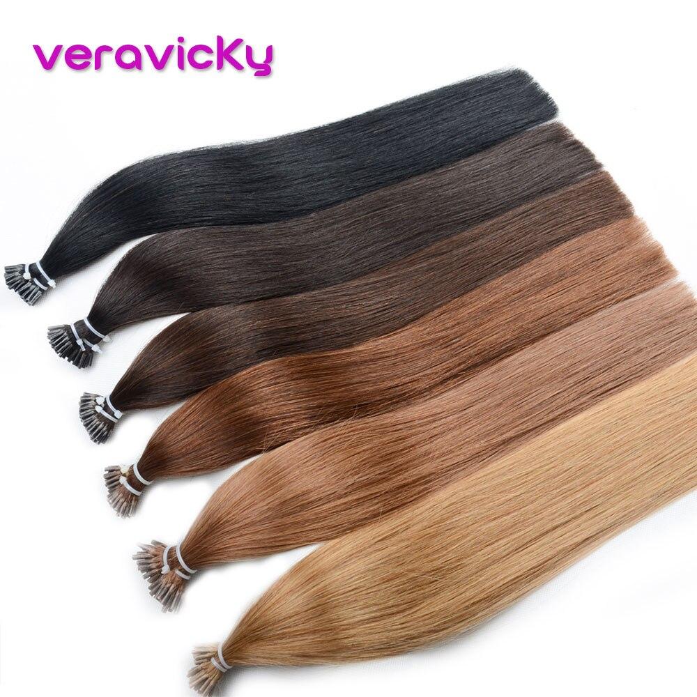 I Tip Hair Extensions 100% Human Hair Pre Bonded Capsule Straight Bonding Stick Machine Remy Hair 16