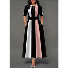 Vestido Vintage de talla grande para mujer, vestido de patinadora de fiesta de media manga, vestidos de poliéster UK, Rosa largo, Amarillo, Morado, informal de verano