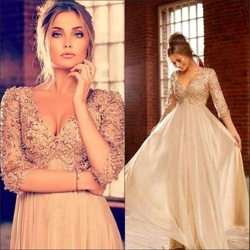 Elegant Party Champagne Evening Prom Gown 2018 Lace Vestido Longo Formal Dubai Pearls Chiffon Sexy Mother Of The Bride Dresses
