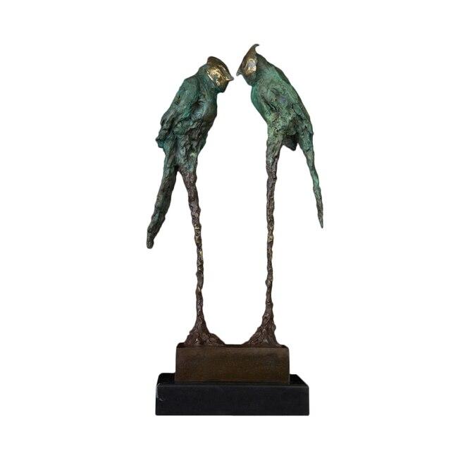 Statua di bronzo Astratta Coppia Pappagalli Scultura Grande Verde Amore Uccello Figurine Grande Annata di Arte per I Regali di Nozze Decorazione