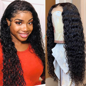 Image 1 - Wet and Wavy Wig 360 lace frontal wig pre plucked with baby hair Water Wave Lace Front Human Hair Wigs Curly Human Hair Wig 150%