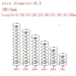20 шт. диаметр проволоки 0,3 мм внешний диаметр 3 мм нержавеющая сталь микро маленькая компрессионная пружина длина 5 мм-50 мм