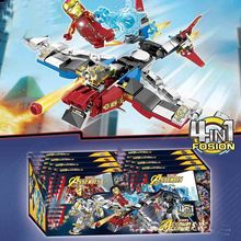 цена на 4Pcs Marvel Avengers 4 DC Super Heroes Iron Man Model Set Building Blocks Toys For Children B565