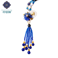 Coloerd Glass Flower Blue Stone Beads Tassel Pendant Necklace Shell Chniese Style Ethnic Handmade Female Accessories CL 190607
