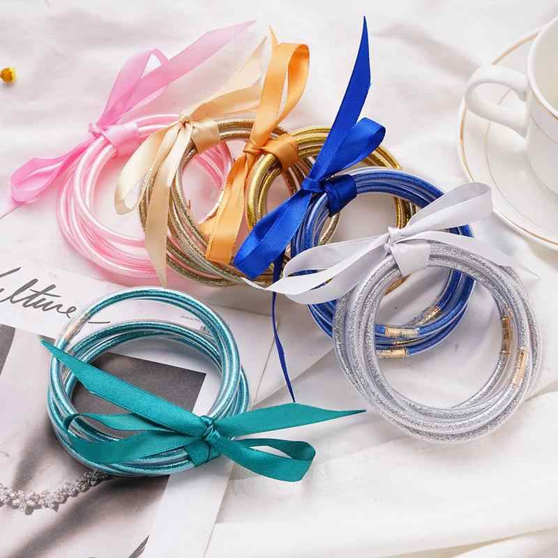 Multi-layer Flash-filled Bracelet Glitter Jelly Bracelets Glitter Filled Silicone Round Bangle Christmas Halloween Party Bangles