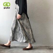 GOPLUS Womens Leopard Silk Satin Skirt 2019 Vintage Korean Style Long Elastic High Waist Midi A-Line Elegant Skirts C9585