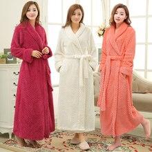Kadınlar kış termal uzun bornoz severler kalın sıcak mercan polar Kimono bornoz artı boyutu gecelikler nedime sabahlık