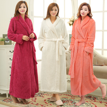 Mulheres inverno térmica longo roupão de banho amantes grosso quente coral velo quimono roupão de banho plus size camisas de dama de honra vestido