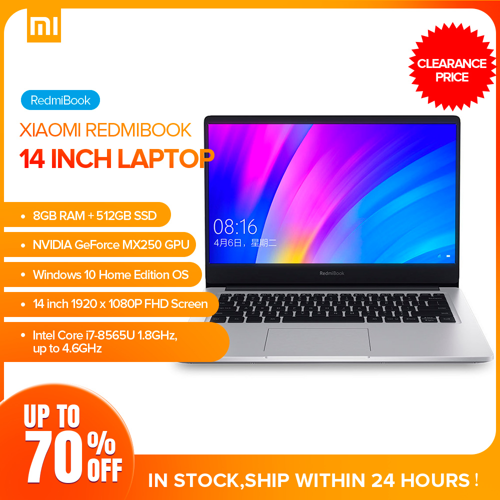 Xiaomi Redmibook 14 Laptop Intel Core I7-8565U Windows 10 NVIDIA GeForce MX250 8GB 512GB BT5.0 Ultra Thin Notebook 1920 X 1080