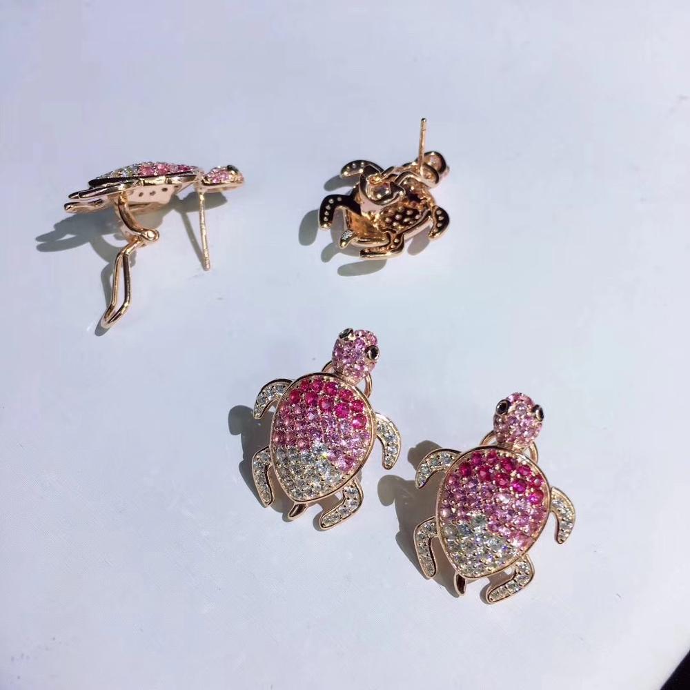 Mignon rose couleur tortue stud boucle d'oreille 925 en argent sterling avec zircon cubique 24*18MM bijoux de mode pour femmes et filles - 5