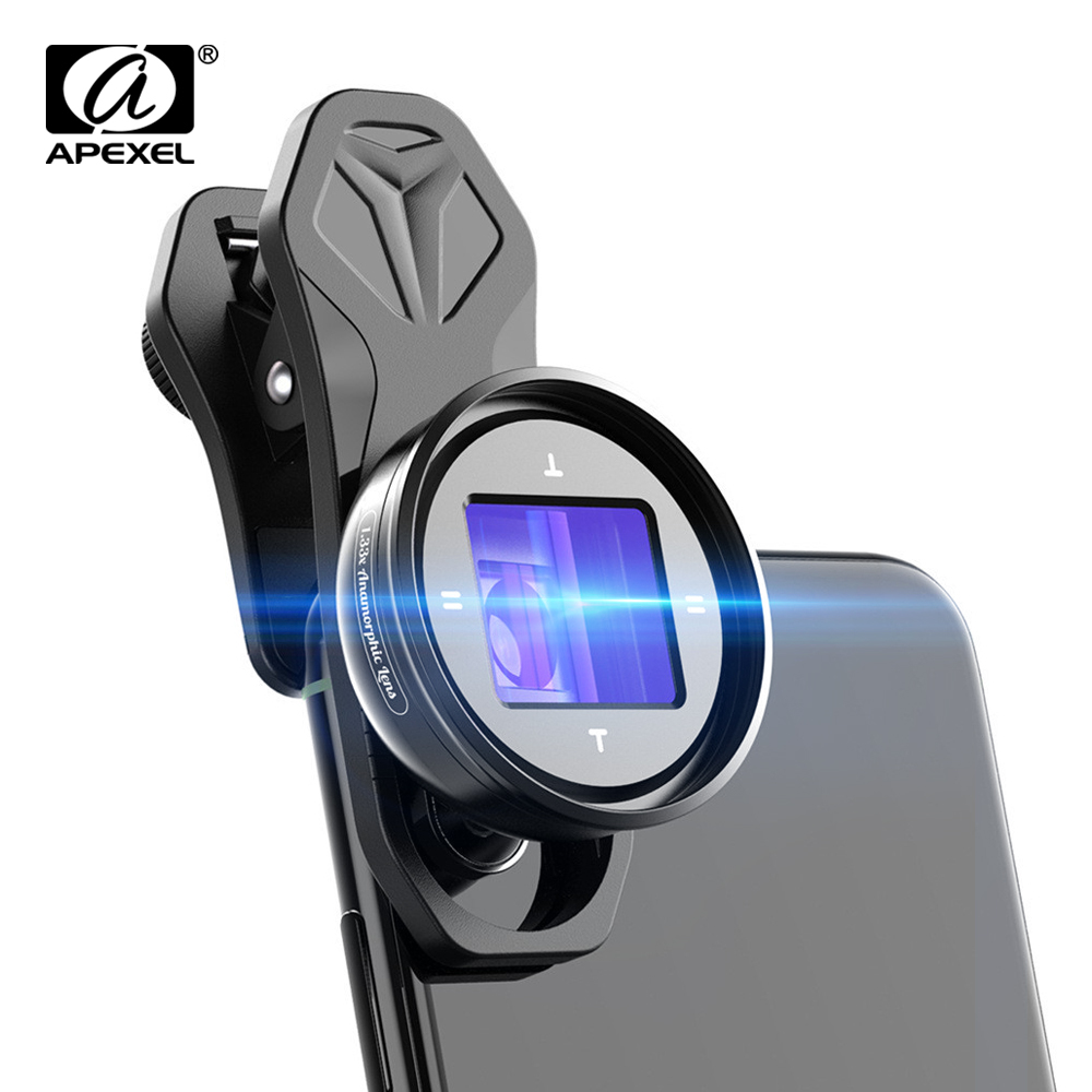 APEXEL Anamorphic Lens 1.33x Widescreen Slr Movie Lens 4K HD Vlog Shooting Deformation Filmmaking for iPhone Huawei smartphones