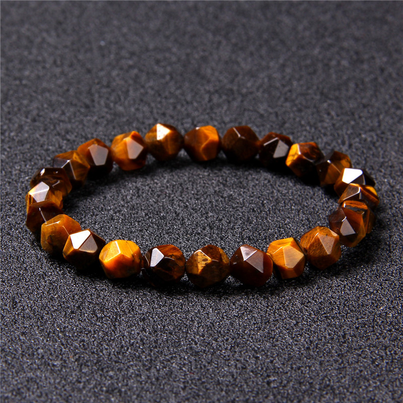 Irregular Natural Stone Tiger Eye Stone Beads Bracelet Faceted Grey Quartz