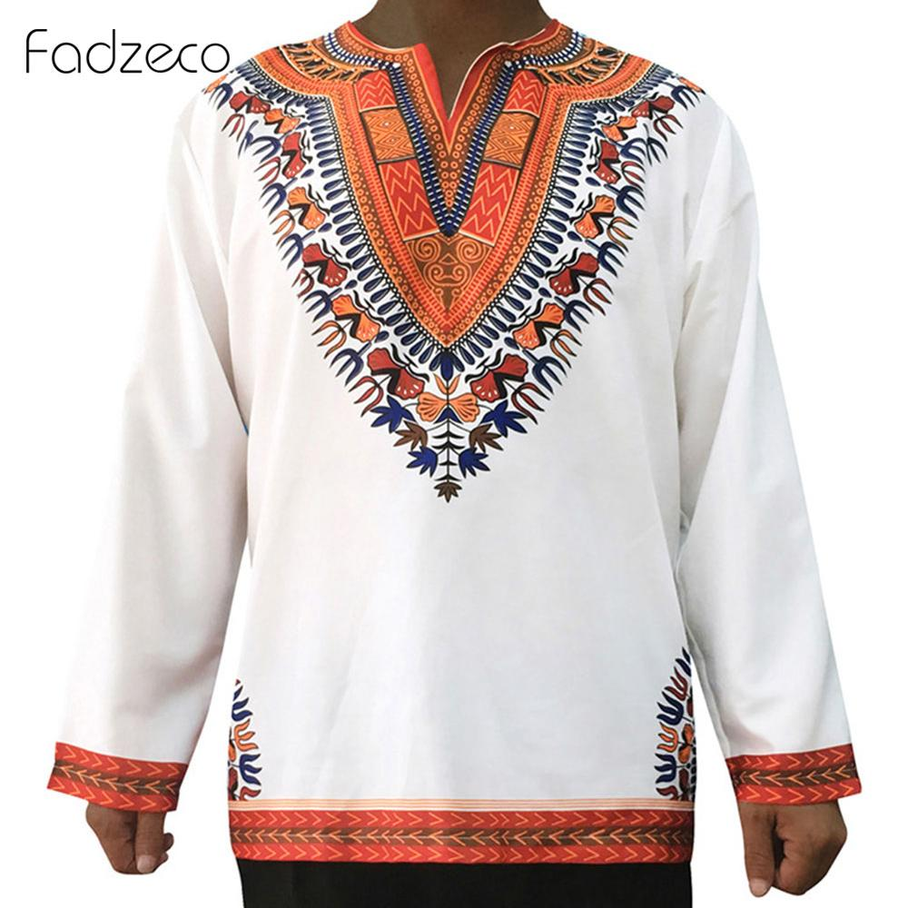 Fadzeco African Clothes For Men Dashiki Long Sleeve V Neck Tribal Print T Shirts Ethnic Tee Shirt Homme Blouse Tops Streetwear