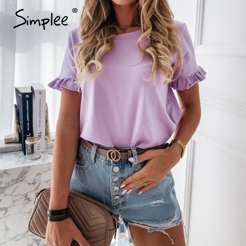Simplee casual ruffles short sleeve plus size t shirts women Fashion solid loose t shirt spring summer all-match top ladies 2020 Women Women's Blouses Women's Clothings cb5feb1b7314637725a2e7: Apricot|apricot-star|Black v|black-cut|black-stripe|blue-lip|light pink-cut|light purple-cut|Pink v|pink-lip|purple-V|red-stripe|white tree|White v|white-cut|white-eyes|white-heart|white-lip|white-mouth|white-star|Khaki|Pink|Purple|White