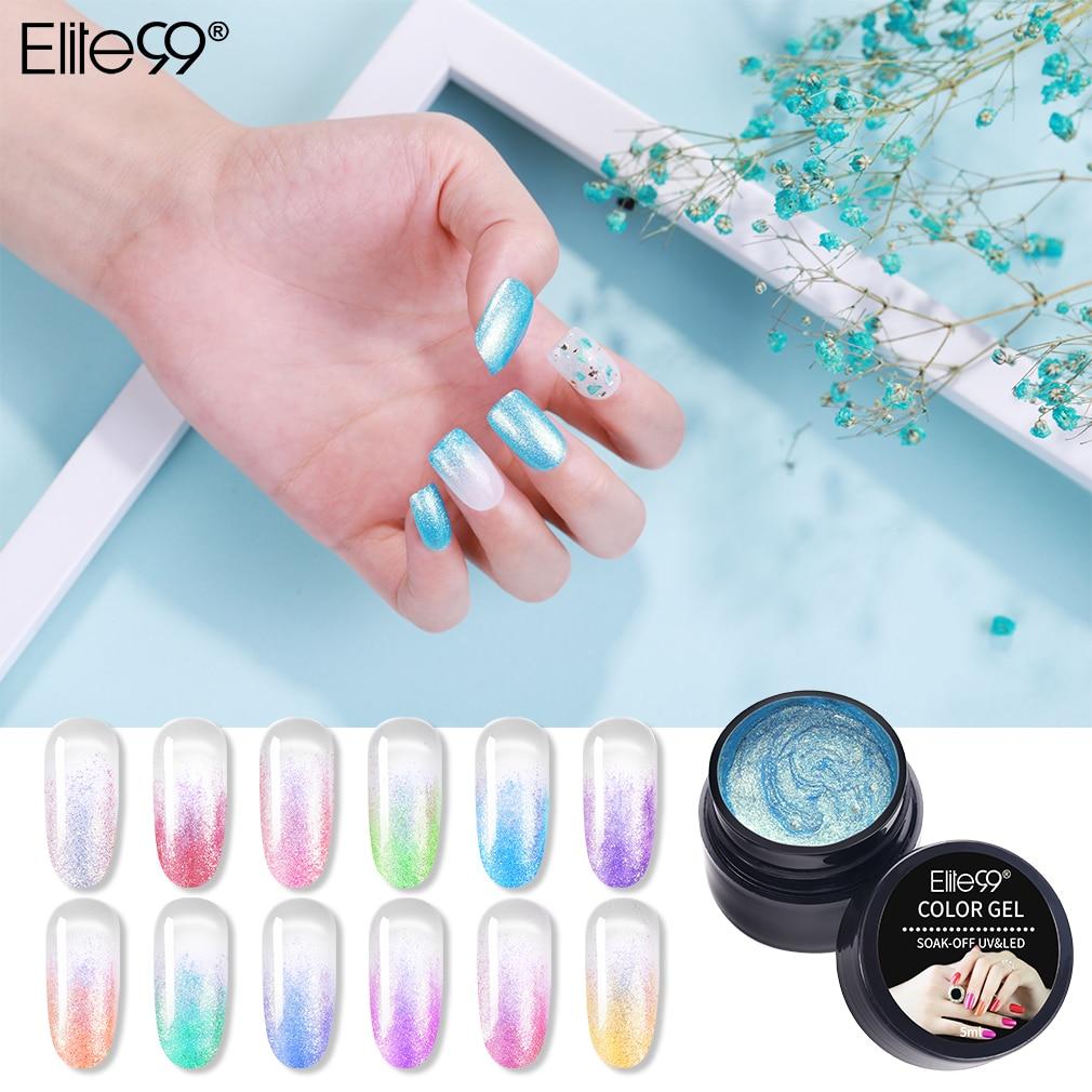 Elite99 Mermaid Legend Gel Nail Polish Shimmer Shiny Glitter Nail Art Manicure Lacquer Soak Off UV LED Nail Varnish Primer 5ML