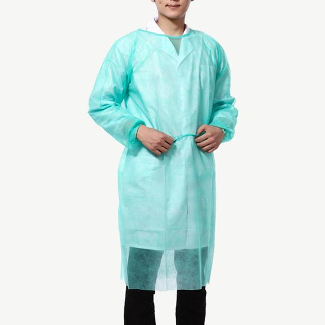 10pcs/lot Disposable Bandage Coveralls Gown Dust-proof Isolation Clothes Labour Suit Non-woven Security Protection Cloth 2